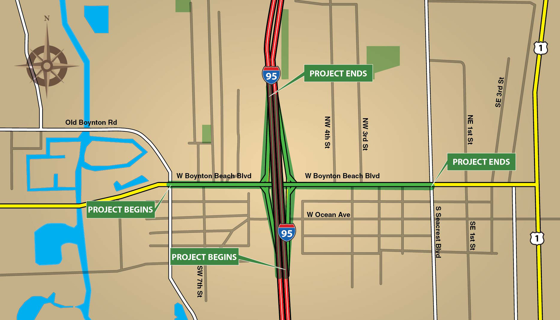 I-95 Interchange at Boynton Beach Boulevard Design Project Location Map