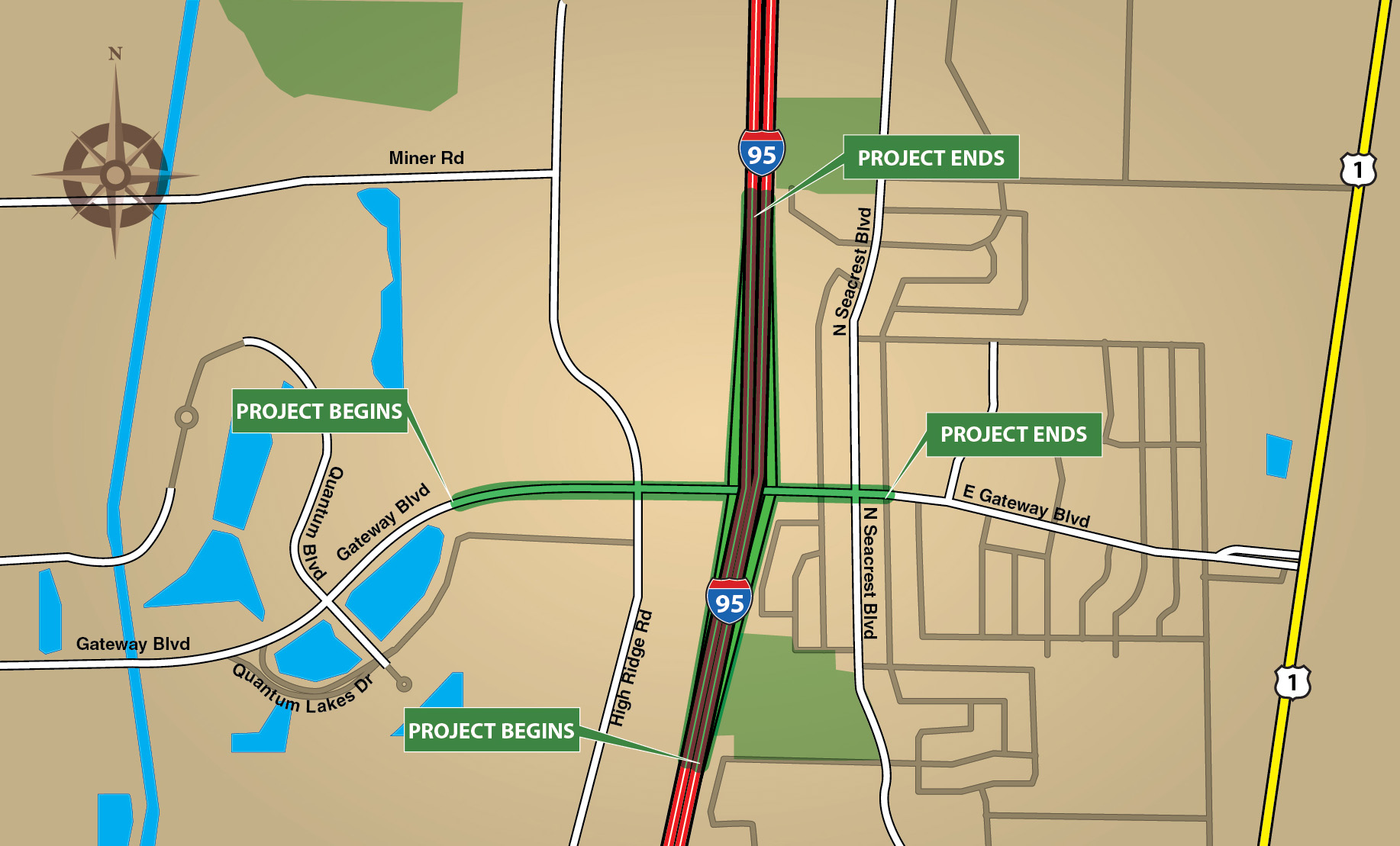 I-95 Interchange at Gateway Boulevard Design Project Location Map